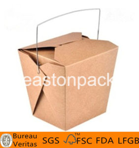 16oz Disposable Kraft Take out Iron Handle Paper Noodle Box pictures & photos