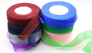 Hot Sale Fancy Cheap Custom Glitter Organza Ribbon pictures & photos