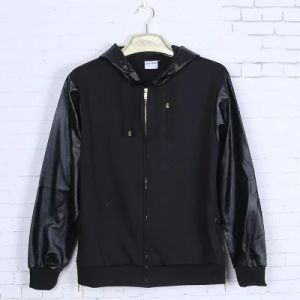 Leather Sleeves Patch Hoodie Black Cotton Long Sleeve pictures & photos