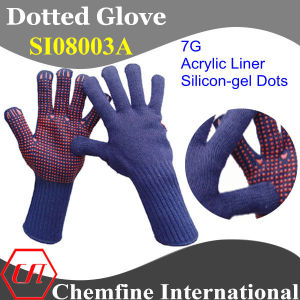 7g Blue Acrylic Fiber Knitted Glove with Red Silicon-Gel Dots pictures & photos