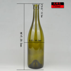 Round Shape 750ml Green or Clear Bordeaux Glass Wine Bottle Ready Stock pictures & photos