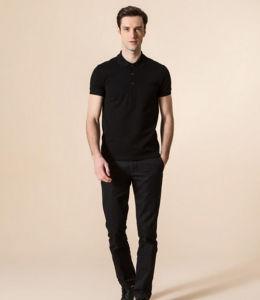 Fashion Design Top Quality Short Sleeves Plain Black Color Men′s Polo Shirt pictures & photos