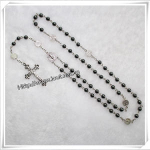 Black Round Hematite Bead Rosary with Satin Papal Crucifix (IO-cr027) pictures & photos