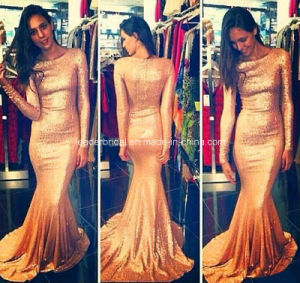 Boat Neck Fashion Gowns Gold Mermaid Evening Formal Dresses Z5022 pictures & photos