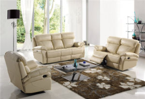 Beige Color Leather Manual Recliner Furniture pictures & photos