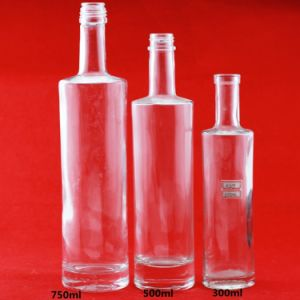 China Wholesale 750ml Vodka Glass Bottles Brandy Spirits Bottles Cylindrical Liquor Bottles