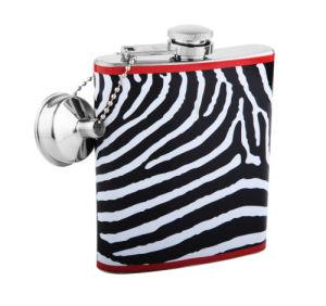 4oz Zebra Printed Hip Flask with Funnel (QL-SW04)