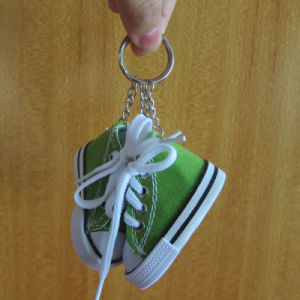 Customized Fabric Shoe Keychain Metal Keyring for Kids pictures & photos