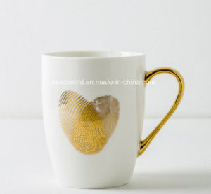 Stoneware Coffee Mug with Gold Foil Print/Gold Foil Mugs pictures & photos