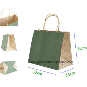 Eco-Friendly Kraft Paper Gift Bag with Twisted Handle Cake Packing Carrier Bag pictures & photos