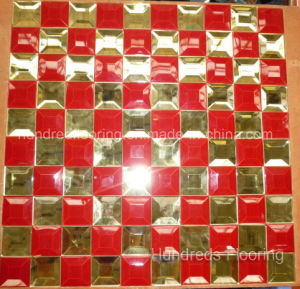 Red Mix Gold Diamond Glass Mirror Mosaic Tile (HD057) pictures & photos