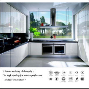 Anti-Scratched Glossy UV MDF Modular Kitchen Cabinets for Apartment (ZH-6040) pictures & photos