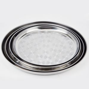 4pieces Stainless Steel Round Tray Plate Set (JX-020)