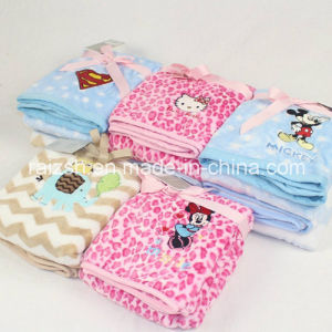 Flannel Embroidered Spring and Autumn and Winter Newborn Baby Blanket pictures & photos