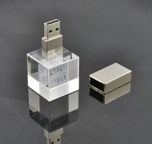 3D Crystal Glass LED USB Flash Drive Unique Memory Disk pictures & photos