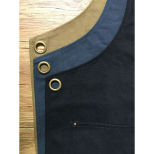 Handmade Durable Blue Canvas Welding Aprons with Criss Back Leather Strap pictures & photos