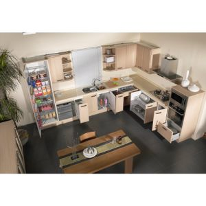 Home Design Wood Grain L-Shaped Kitchen Cabinets with Floor Cupboards pictures & photos
