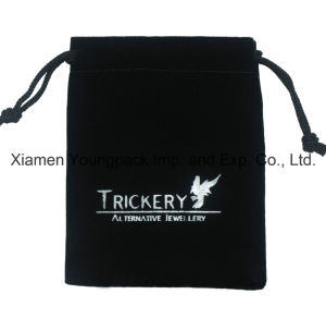 Hot Stamped Silver Foil Logo Promotional Custom Black Small Drawstring Velvet Gift Pouch pictures & photos
