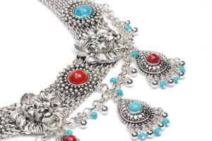 Fashion Designer Turquoise Metal Alloy Pendant Statement Choker Neckalce Jewelry pictures & photos