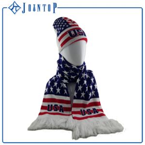 Fan Knitted Scarf Us Style Knit Fan Scarf and Hat Beanie pictures & photos