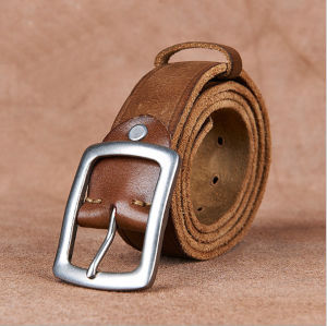 Customized Men Cow Leather Belt with Pin Buckle pictures & photos