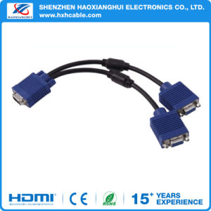 High Quality HD 1080P Male to 2 Female VGA Cable pictures & photos