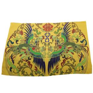 Yellow Polyester Chiffon Print Scarf Chinese Style
