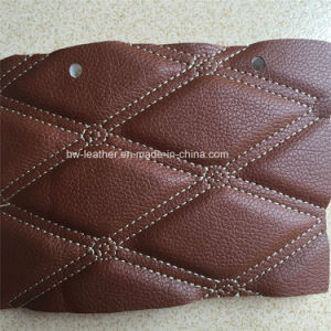 Fashion Sponge Stiched Synthetic PU Leather for Car Seat Covers Hx-C1703 pictures & photos