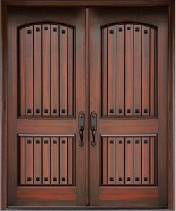 Mahogany Double Entry Fiberglass Door Classic Design