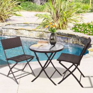 Patio Leisuure Dining Furniture Rattan Aluminum Metal Hotel Bistro Folding Chair pictures & photos