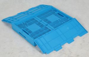 Collapsible Plastic Moving Folding Crate with Lid pictures & photos