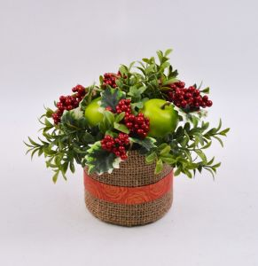 Artificial Xmas Flowers with Berry in Flax Bag for Holiday Decoration pictures & photos