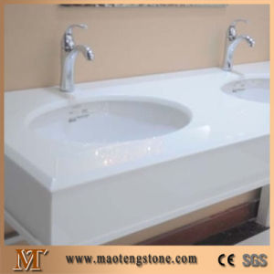 High Quality Best Price Pure White Beveled Edges Crystallized Glass Vanity Tops pictures & photos