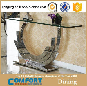 Modern Design Glass Dining Table and Big Top Glass pictures & photos