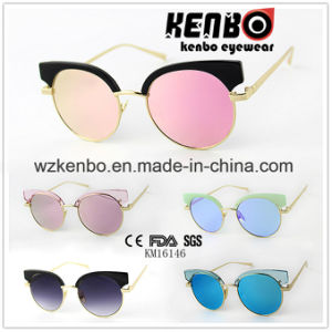 Metal Round Frame with Plastic Eyebrow Km16146 Fashion Colourful Sunglasses pictures & photos