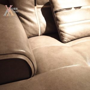 Modern Fashion Grey Leather Sectional Sofa Set (1681A) pictures & photos