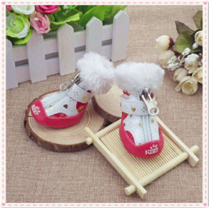 Eco-Friendly Pet Supply Printing PU Leather Waterproof Dog Shoes pictures & photos