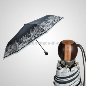 Automatic 3 Folding Umbrella Wooden Handle Mini Rain/Sun Umbrella (JF-AAG304) pictures & photos