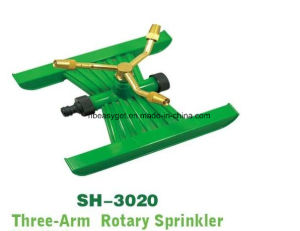 3-Arm Rotary Sprinkler for Lawn Watering, Multilingual Three-Arm Square Pattern Spray Whirling Sprinkler with Metal Wheel Base pictures & photos