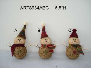 Burlap Snowman Christmas Tree Ornament-3asst. pictures & photos