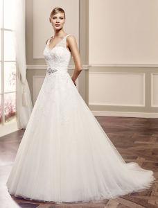 Chiffon Short Sleeve Bridal Wedding Gown Beach Casual Wedding Dress pictures & photos