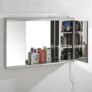 Stainless Steel Furniture Bathroom Mirror Cabinet with Light (7006) pictures & photos