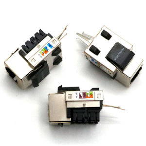 White Shielded Cat5e Keystone Jack UTP Connector Module Without Panel Stops pictures & photos
