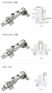 165 Degree Full Overlay Hydraulic Brass Buffer Kitchen Cabinet Door Corner Hinge pictures & photos