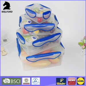 Plastic Four-Side Clips Food Storage Container Set pictures & photos