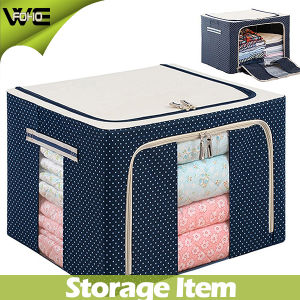 Home Cheap Blue Fabric Covered Storage Boxes with Zipper pictures & photos