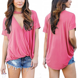Fashion Women Leisure Casual V-Neck T-Shirt Clothes Blouse pictures & photos