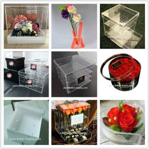 Custom Clear Acrylic Square Flower Box with Lid pictures & photos