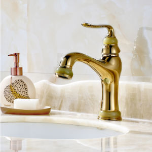 Basin Faucet Gold Copper Natural Jade Bathroom Faucet pictures & photos