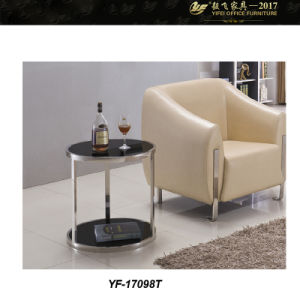 Glass End Tables, Small Round Coffee Table Glass Top, Cocktail Coffee Table (YF-170098T)